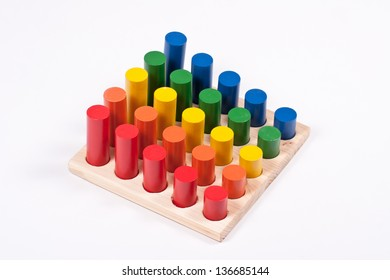Sensory Toy: Bright Multi-Colored Cylinders on Base
