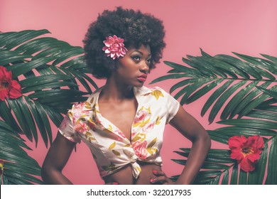 Sensual Afro American Pin-up Between Palm Leaves. Against Pink Background.