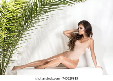 Sensual beautiful brunette woman posing in nude swimwear with palm leaves. Girl with glamour makeup and perfect slim body.