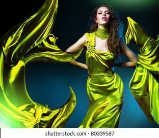 sensual beautiful woman in green fabric