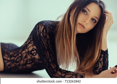 Sensual Beautiful Woman with Perfect Make Up and Long Ombre Hair in Underwear. Film Toning and Effects