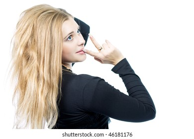 sensual beauty girl looking appear with finger touching face isolated