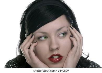 sensual black lady with green eyes