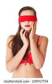 Sensual blindfold woman, isolated on white