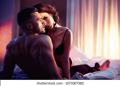 Sensual brunette lady seducing her lover