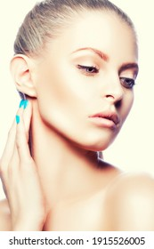 Sensual caucasian beauty young woman portrait, perfect healthy skin, make-up