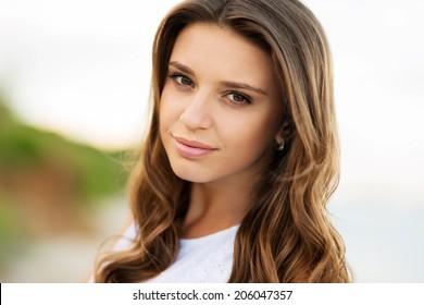 sensual clouseup portrait of the beautifully caucasian model. retouched