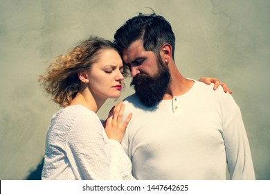 Sensual couple enjoying intimacy. Young couple having passionate intense sex. Beautiful young sensual woman love affectionate man. Kissing couple portrait