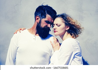 Sensual couple enjoying intimacy. Young couple having passionate intense sex. Beautiful young sensual woman love affectionate man. Kissing couple portrait