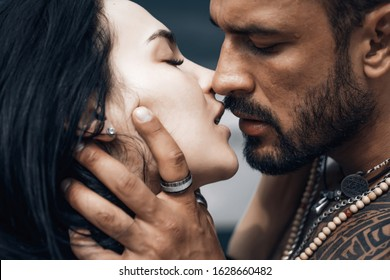 Sensual couple kiss. I Love You. Couple In Love. Romantic and love. Intimate relationship and sexual relations. Dominant man. Closeup mouths kissing. Passion and sensual touch