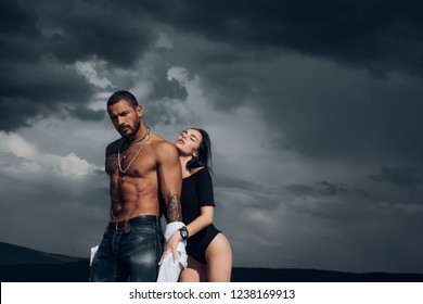 Sensual couple in Love. Passion and sensual touch. Romantic and love. Intimate relationship and sexual relations. Dominant man. I Love You. Couple In Love in sky