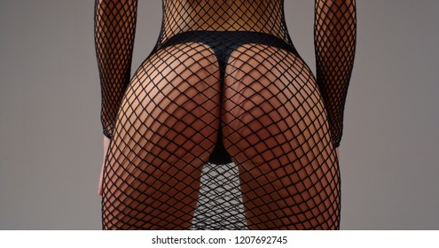 Sensual erotic woman stripper pin up girl topless with big ass. Close up ass female in panties. Luxury ass. Huge buttocks
