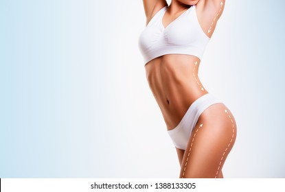 Sensual female body, cosmetic surgery and skin liposuction.