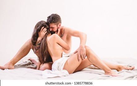 Sensual foreplay and intimacy. Lovers naked hug or cuddling. Intimacy moment. Intimacy and trust between partner. Couple make love sex. Hipster seduce attractive girl. Desire and intimacy concept.