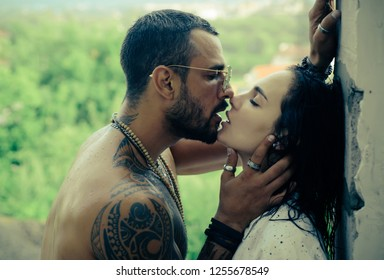 Sensual french kiss. Couple in love. I love you. Embrace and kiss. Couple in french kiss. I love you. Romantic and love. Intimate relationship and sexual relations. Sensual touch