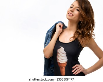 Sensual gorgeous young woman in black bodysuit with picture of ice cream horn posing isolated on white background. Sport, fitness, diet, weight loss and healthcare concept.