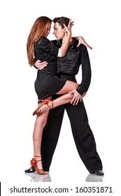 sensual latino dancing couple on white background. Isolated