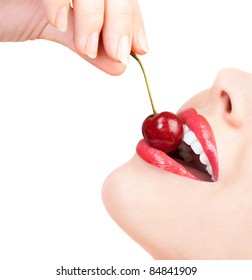sensual lips with a cherry