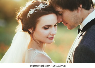 Sensual portrait of a young couple. Wedding photo outdoor