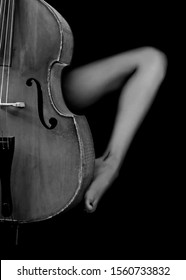 Sensual scene with beautiful female leg entwining old wooden double bass against black background. Concept of beauty and music. Black and white photography