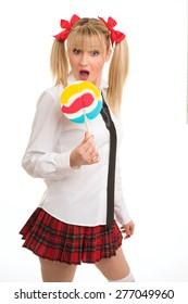 Sensual schoolgirl with lollipops
