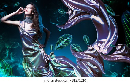 sensual sexy woman in fabric with leaves