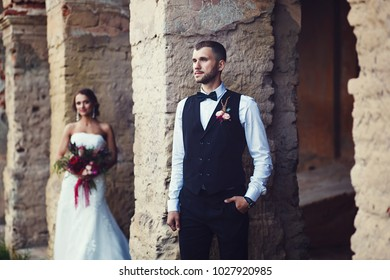 Sensual wedding couple, groom and bride in love