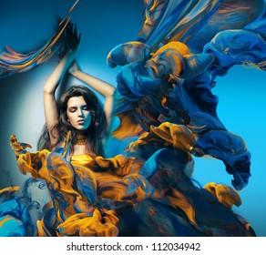 sensual woman and big paint waves