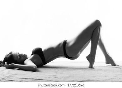 Sensual woman in black underwear