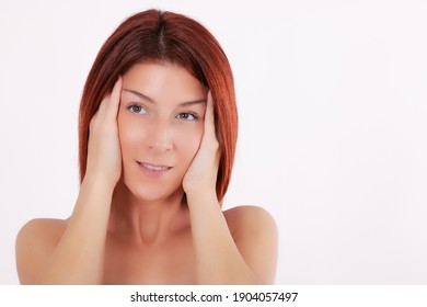 Sensual woman with clean fresh skin touching her face. Beauty spa treatment concept. Copy space.