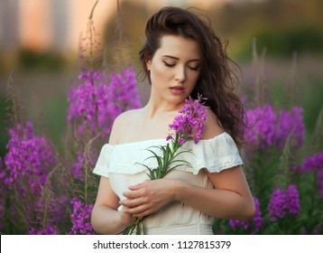 Sensual woman with flowers