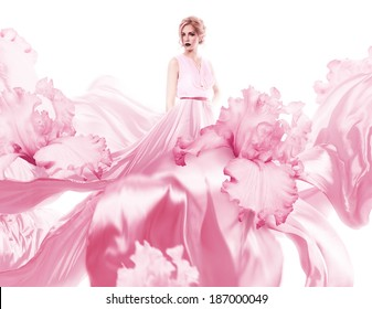 sensual woman with flying pink dress