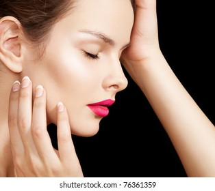 Sensual woman model with fashion bright lips make-up, clean skin, french manicure