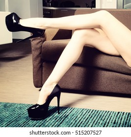 sensual woman with perfect sexy legs