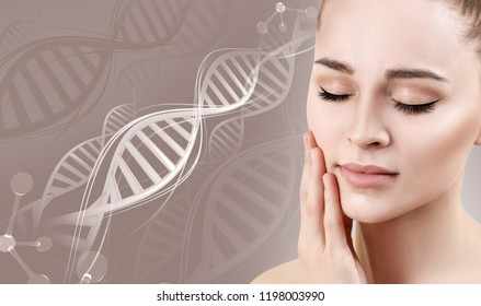 Sensual woman with perfect skin among DNA chains. Over beige background.