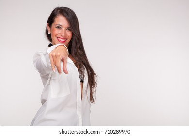 sensual woman points finger