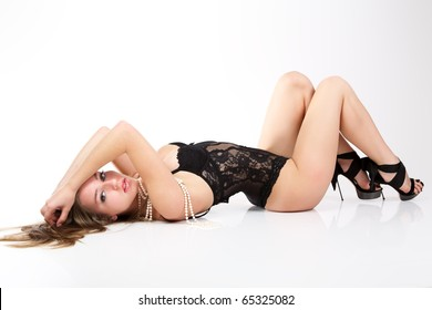 Sensual women in black lingerie.
