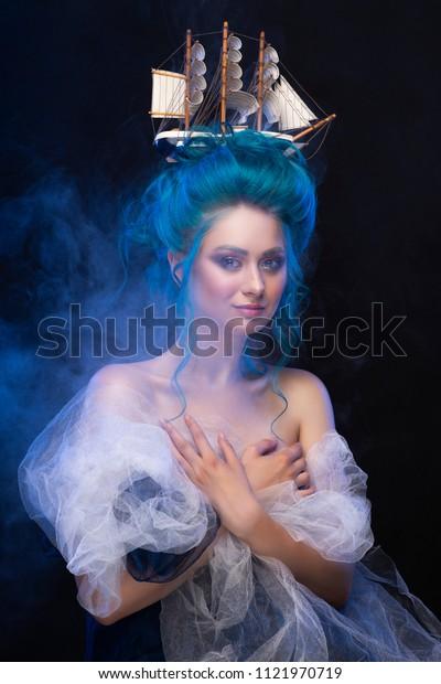 Blue hair naked