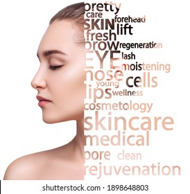 Sensual young woman face with tag words. Beauty skincare concept. Over white background