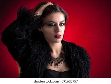Sensual young woman looking at camera