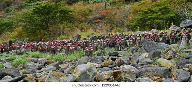 Sentai Jizo (Thousand statues of Jizo Bosatsu) of Sessyouseki park in Nasu Tochigi Japan