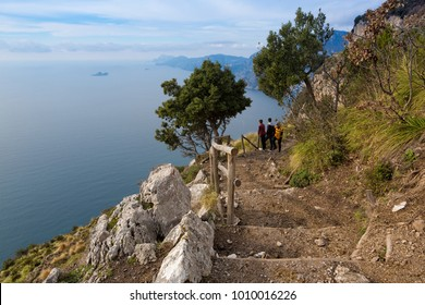 "SENTIERO DEGLI DEI, ITALY - JANUARY 14, 2018: The 7 km trekking route from Agerola to Nocelle in Amalfi coast, called ""Path of the Gods"", is dedicated to both experts and beginners"