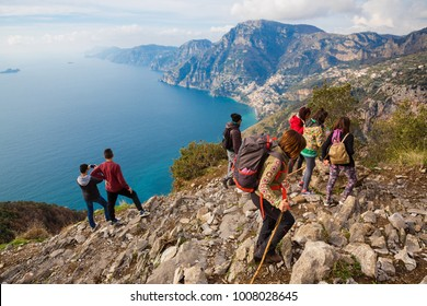 "Sentiero degli Dei (Italy) - Trekking route from Agerola to Nocelle in Amalfi coast, called ""The Path of the Gods"" in Campania, Italy"