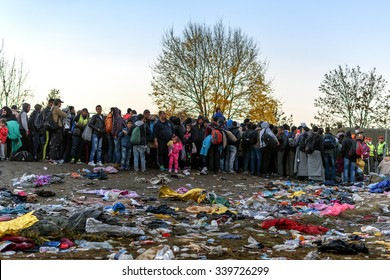 SENTILJ, SLOVENIA - 15 OCTOBER 2015: Syrian refugees at the Slovenian Austrian border. Leaving behind large quantities of trash.