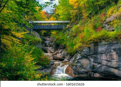 Sentinel Pine Covered Bridge, near Lincoln, New Hampshire, in Autumn.