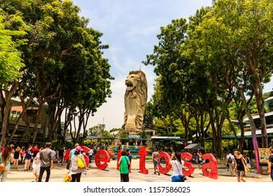 Sentosa Beach, Singapore - 2017. Tourist attractions in Sentosa Island in Singapore.