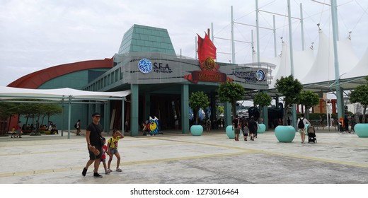 Sentosa Gateway, Singapore - December 27, 2018: Marine Life Park features the Adventure Cove Waterpark and S. E. A. Aquarium for edutainment. The Maritime Experiential Museum kept the Jewel of Muscat.