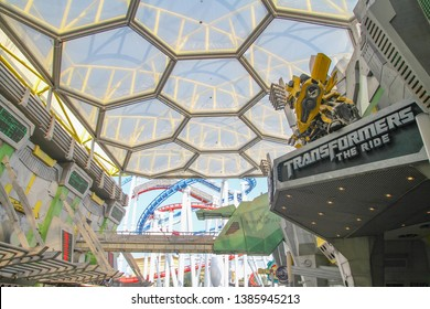 Sentosa Island,SINGAPORE -April 12,2016 :Sci Fi City Inside Universal Studio Singapore one of the famous because have Tranformers theme