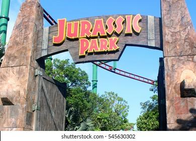 SENTOSA, SG - OCT. 19: Jurassic Park entrance sign on October 19, 2016 in Universal Studios, Sentosa, Singapore.