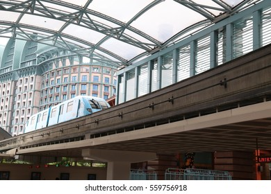 SENTOSA, SINGAPORE - JAN. 17 : Sentosa Express Monorail Train on 17 January 2017 in Sentosa, Singapore